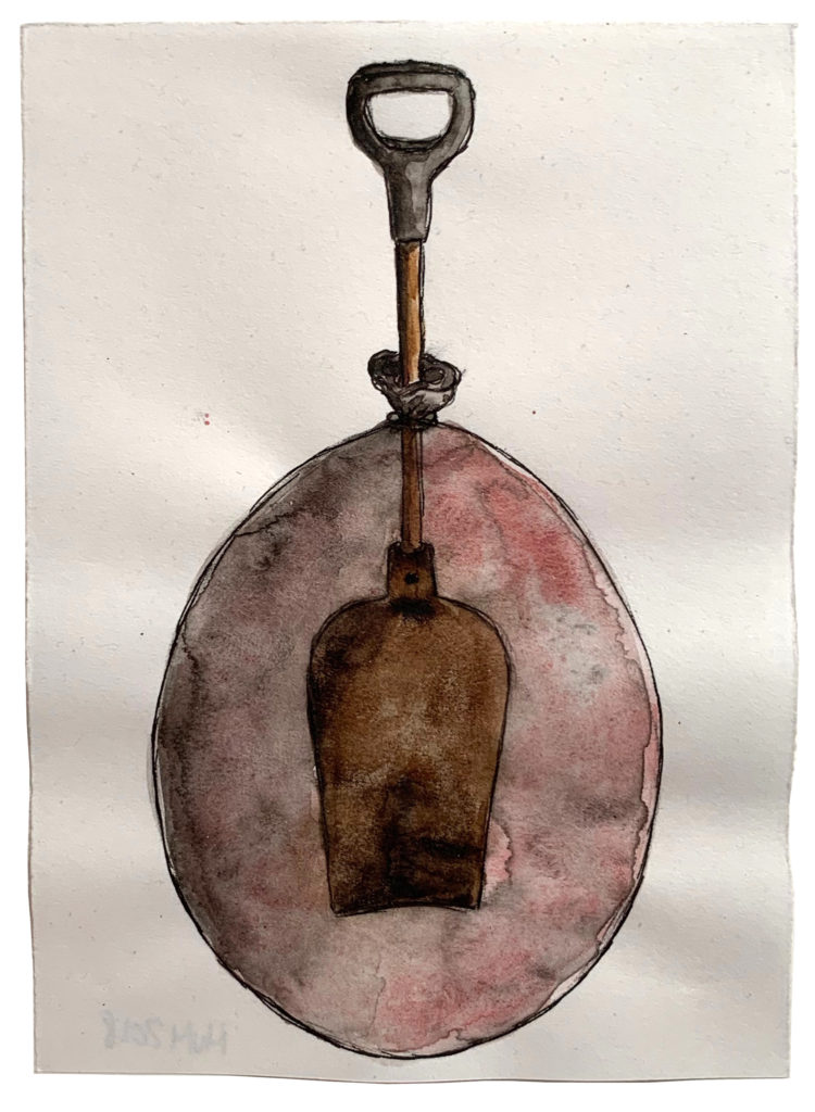 'Caught in a Balloon' 2018, Ink pen, water colour on paper,17x21cm
