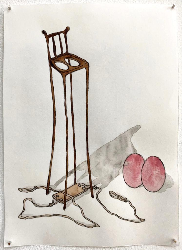 'Detached' 2018,  Pencil, ink pen, water colour on paper, 21x15cm