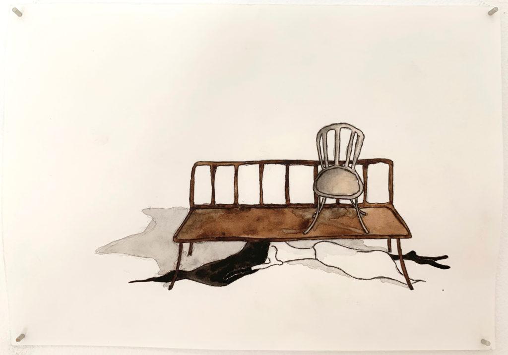 'Drunter' 2018, Pencil, ink pen, water colour on paper, 21x15cm