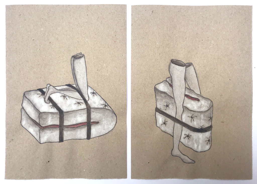 'Folded Mattress'  2018, Ink pen, water colour on paper, 29x22.5cm