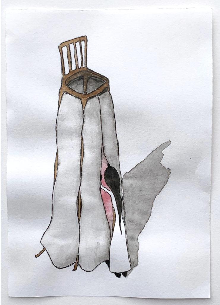 'Sneak Peek' 2019, Pencil, ink pen, water colour on paper, 21x15cm