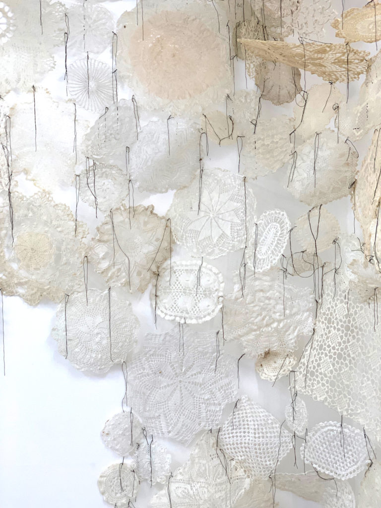 'Paleness and Bloom, Pleasure and Gloom' 2019, Mixed media, Textile, threads and glue, Size variable