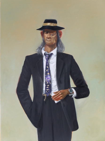 'Homme au chapeau' 2016, oil on canvas, 130 x 97 cm