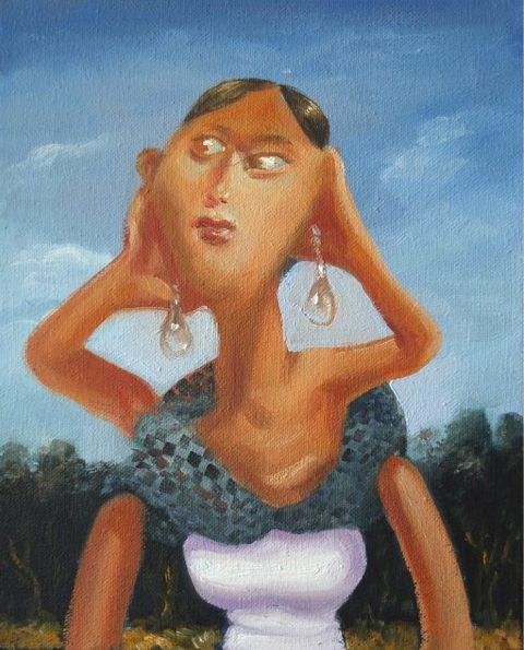 'Femme aux boucles d'oreilles' 2016, oil on canvas, 27 x 22 cm