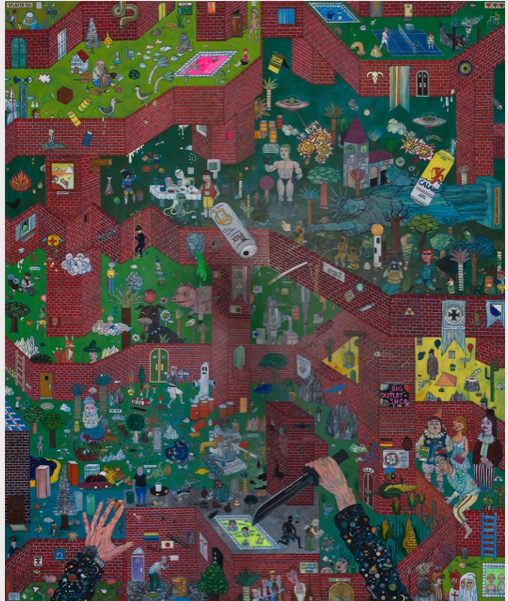 'Schacht bei Saria 3' 2016, Oil, acrylic and glitter on AluDibond, 180 x 150 cm
