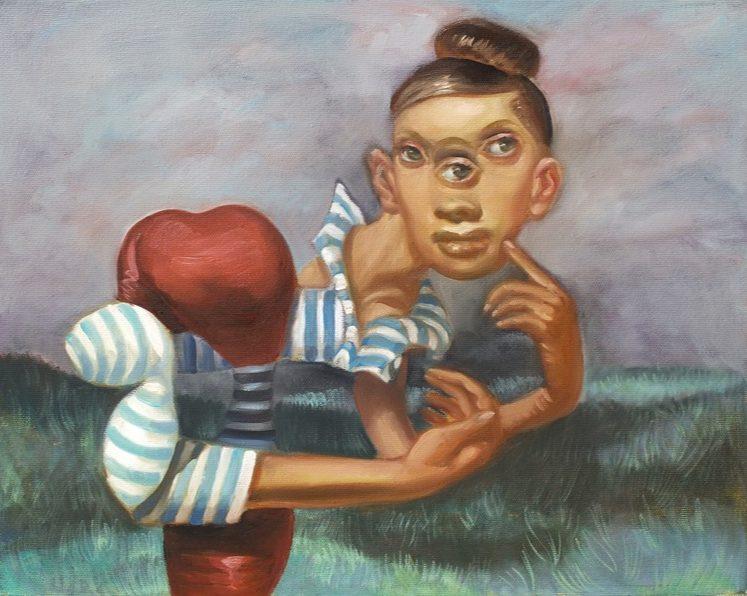 'Femme au pull rayé' 2016, oil on canvas, 40 x 50 cm