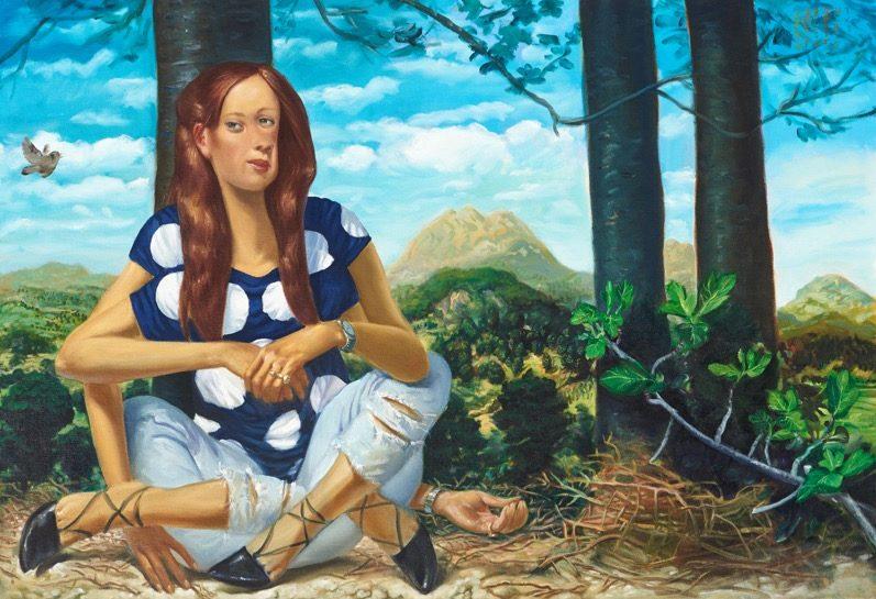''Femme à l'oiseau' 2015, oil on canvas, 90 x 130 cm