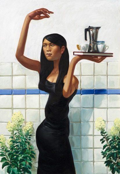 'Femme à la cafetière' 2015, oil on canvas, 130 x 90 cm