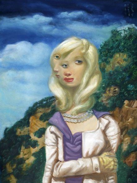 'Femme au pull violet' 2016, oil on canvas, 80 x 60 cm