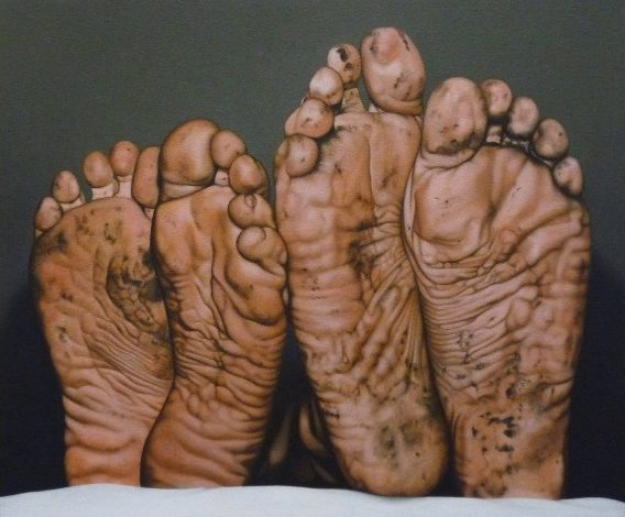'Dirty Feet' 2008, oil on canvas, 38 x 46 cm