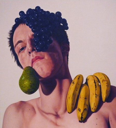 'Self-Portrait and Fruit Still-Life All in One' 2009, oil on canvas, 50 x 45 cm