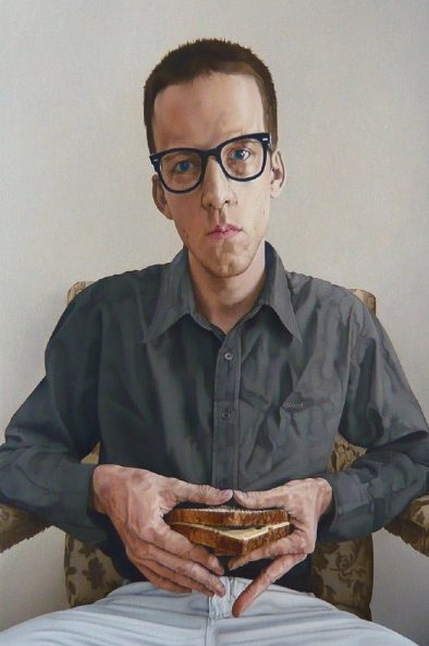 'Self 'Portrait with Triangular Sandwich' 2010, oil on canvas, 60 x 40 cm