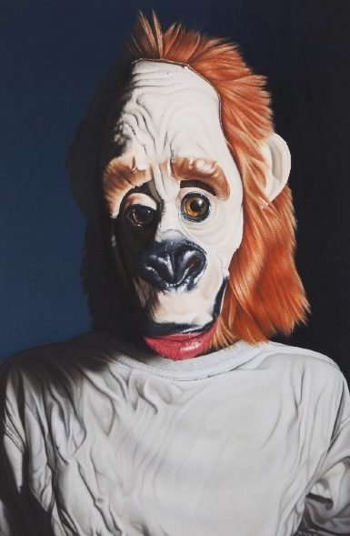 'Portrait mit Affenmaske' 2011, oil on canvas, 66 x 43 cm