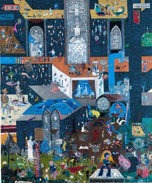 'Der Untergang des Ypsilon'schen Zeitalters', 2006, mixed media on cardboard, 121 x 156 cm