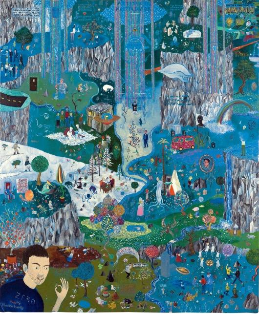 'Die Ewigkeit des Ypsilon'schen Zeitalters', 2009, mixed media on cardboard, 125 x 155 cm