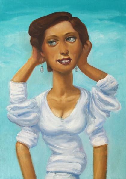'Femme se tenant les cheveux' 2017, oil on canvas, 63 x 45 cm