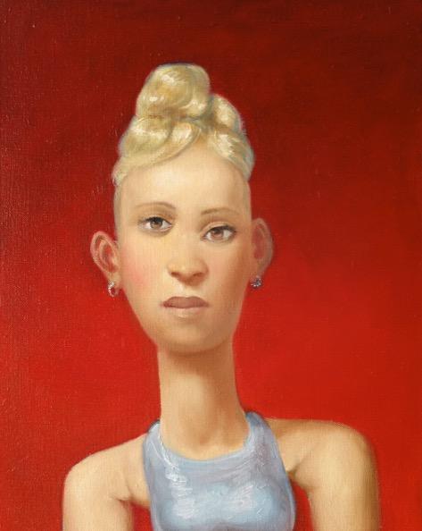 'Femme sur fond rouge' 2018, oil on canvas, 50 x 40 cm