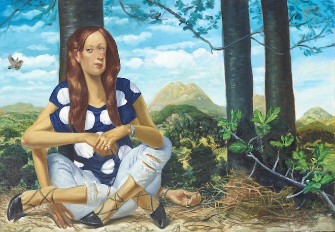 'Femme à l'oiseau' 2016, oil on canvas, 90 x 130 cm