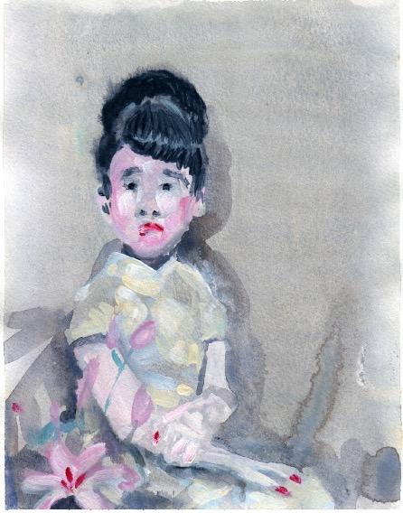 ELISABETH LLACH 'Ne t'inquiète pas #115', 2007, Acrylic on paper 24x19cm (sold)