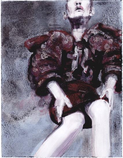 ELISABETH LLACH 'Ne t'inquiète pas #226', 2007, Acrylic on paper 24x19cm (sold)