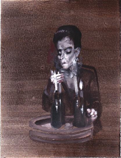 'Ne t'inquiète pas #238', 2007, Acrylic on paper 24x19cm