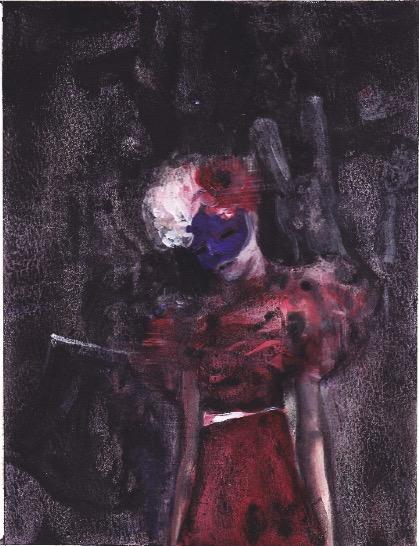 ELISABETH LLACH 'Ne t'inquiète pas #245', 2007, Acrylic on paper 24x19cm