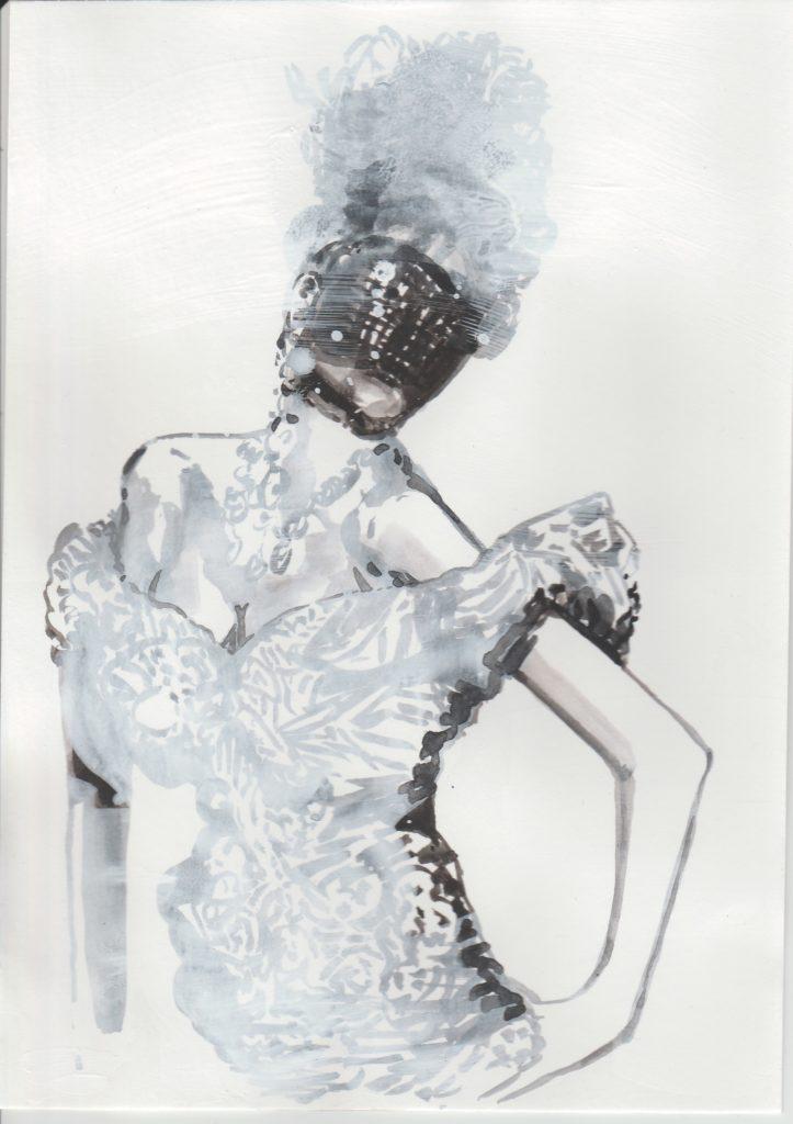ELISABETH LLACH 'Bal masqué' 2018, Acrylic on paper, 21x15 cm (sold)