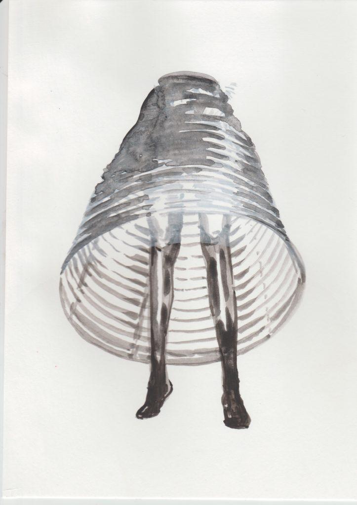 ELISABETH LLACH 'Crinoline', 2020 Acrylic on paper 21x15cm (sold)