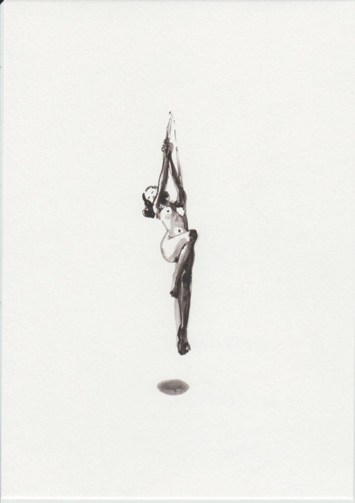 'Accrochée et trou', 2019 Acrylic on paper 21x15cm