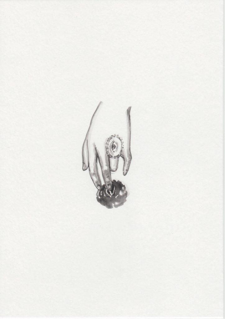 'Loeil', 2019 Acrylic on paper 21x15cm