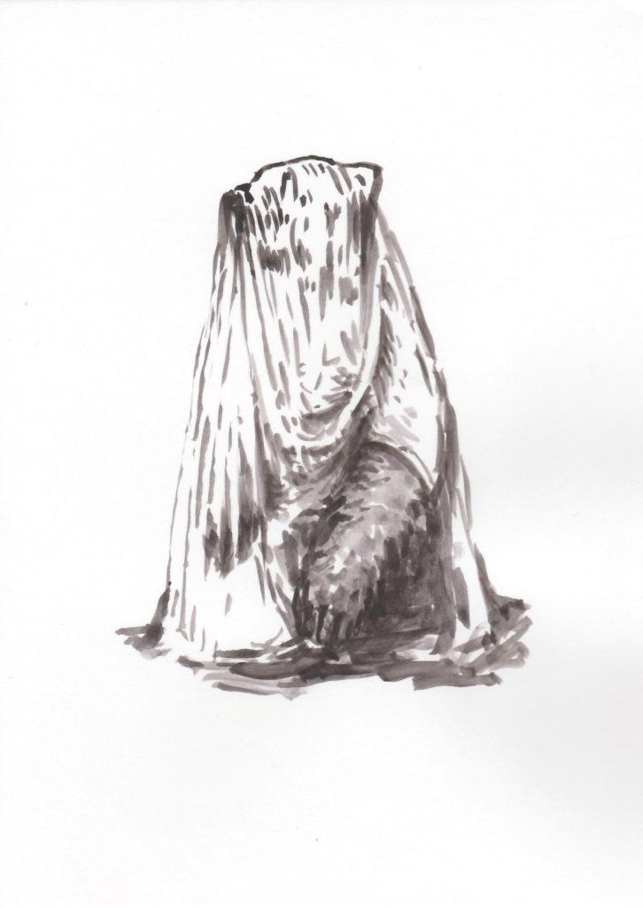 'Ours drapé', 2018 Acrylic on paper 21x15cm