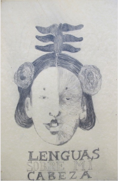 VASQUEZ DE LA HORRA SANDRA 'Lenguas y cabeza' 2009, Wax and pencil on paper, 51 x 33 cm (sold)