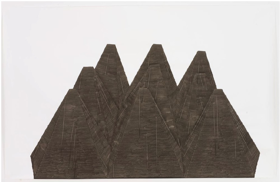 'Panzersperren', 2006, Ink on paper 150x235cm