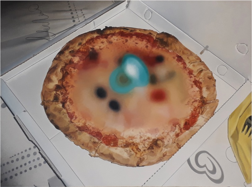 'Pizza2Go' 2020, Oil on canvas, 36 x 48 cm