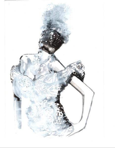 ELISABETH LLACH 'bal masqué' (Hystericalsammlung) 2018, Acrylic on paper, 20,7 x 14,6 cm