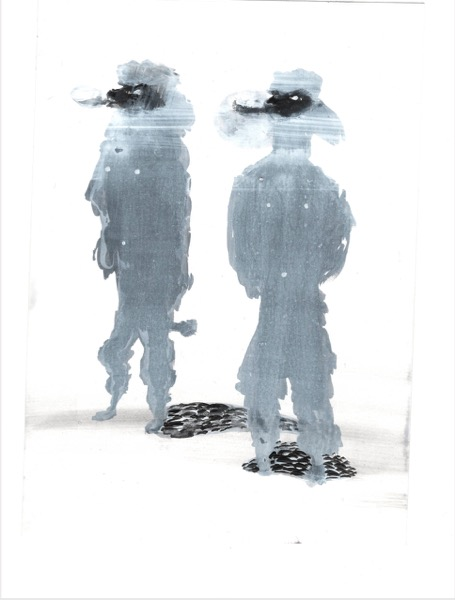 ELISABETH LLACH 'Caniches Royales' (Hystericalsammlung) 2018, Acrylic on paper, 20,7 x 14,6 cm