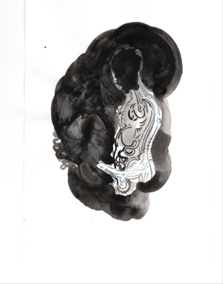 ELISABETH LLACH 'Pénétration' (Hystericalsammlung) 2020, Acrylic on paper, 20,7 x 14,6 cm