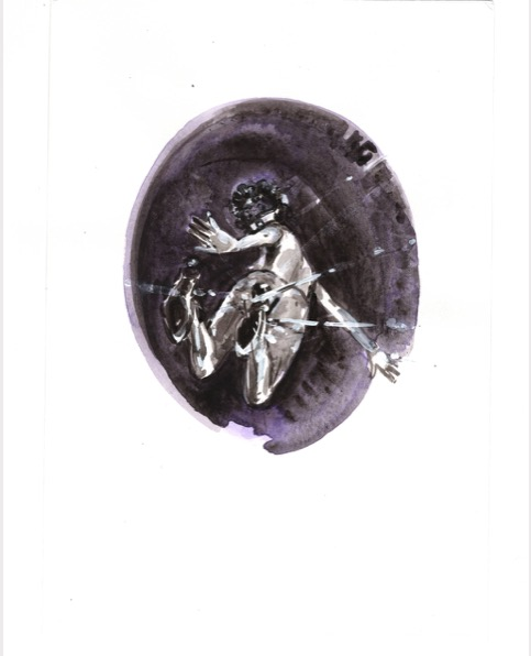 ELISABETH LLACH 'Surpris 2' (Hystericalsammlung) 2020, Acrylic on paper, 20,7 x 14,6 cm