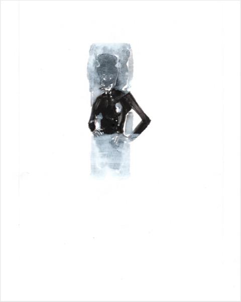 ELISABETH LLACH 'Dandy' (Hystericalsammlung) 2020, Acrylic on paper, 20,7 x 14,6 cm