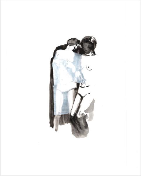 ELISABETH LLACH '2 Japenases' (Hystericalsammlung) 2018, Acrylic on paper, 20,7 x 14,6 cm