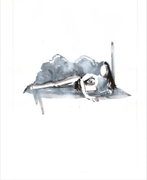 ELISABETH LLACH 'Boudoir' (Hystericalsammlung) 2018, Acrylic on paper, 20,7 x 14,6 cm