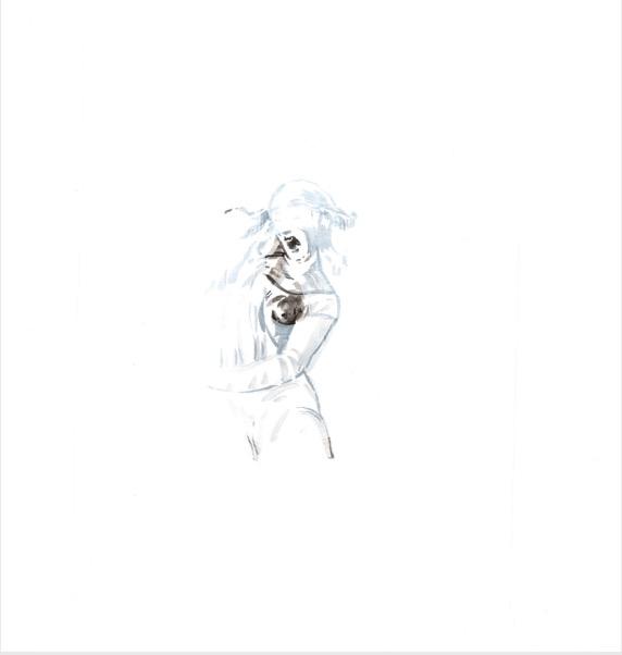 ELISABETH LLACH 'Cri' (Hystericalsammlung) 2018, Acrylic on paper, 20,7 x 14,6 cm