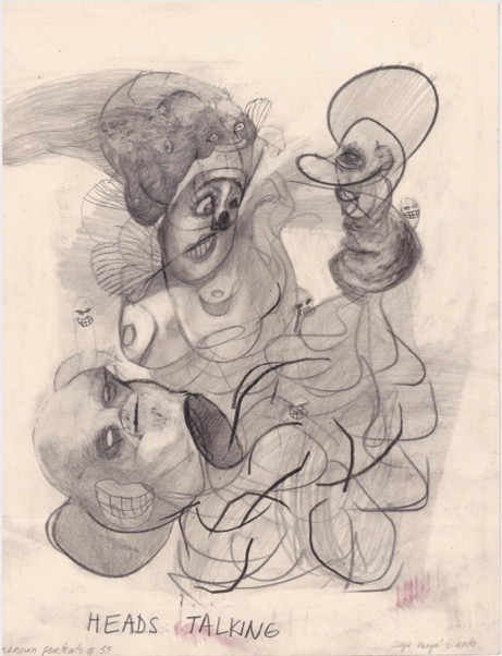ANYA BELYAT-GIUNTA 'Unknown portraits #35' 2020, Graphite and liquid pencil on cut punched card, 24 x 18 cm