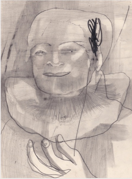 ANYA BELYAT-GIUNTA 'Unknown portrait #10' 2020, Graphite and liquid pencil on cut punched card, 24 x 18 cm