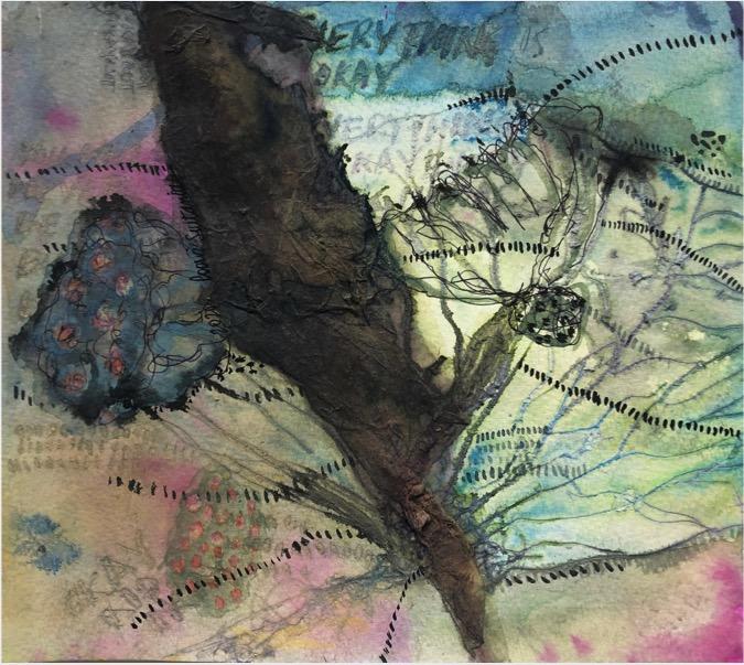 POORVI SULTANIA 'Okay, Not Okay' 2020, Pen, Ink, Gouache and Rice Paper on Paper, 18 x 20.5 cm