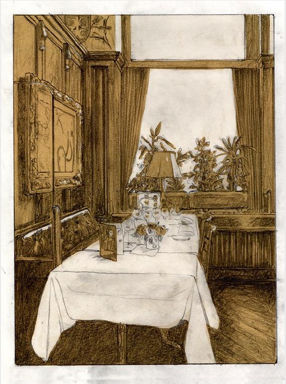 'Kronenhalle 2' 2019, Graphite and Gouache on paper, 40 x 30 cm