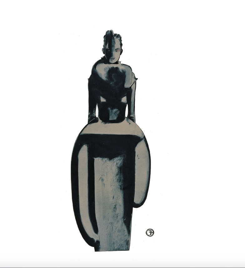'African Sculpture' 1997, Monotype, oil on paper, 50 x 60 cm