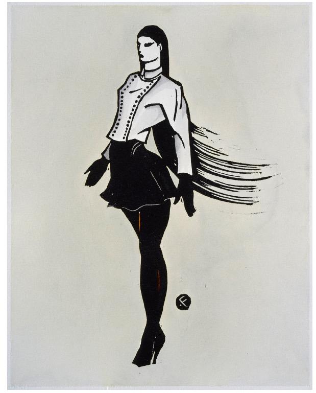 'VANITY / ALAIA' 1986, Linocut Print and Waterbased Ink, 50 x 35 cm