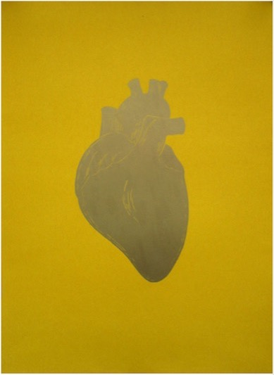'Golden Heart on Yellow' 1997, Lino Print / Oil and Gold Pigment on paper, 50 x 60 cm, Unique