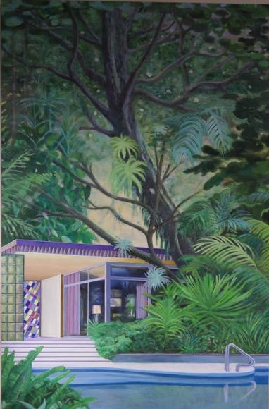 LEIF TRENKLER 'Das Haus im Dschungel' 2020, Oil on wood, 105 x 130 cm